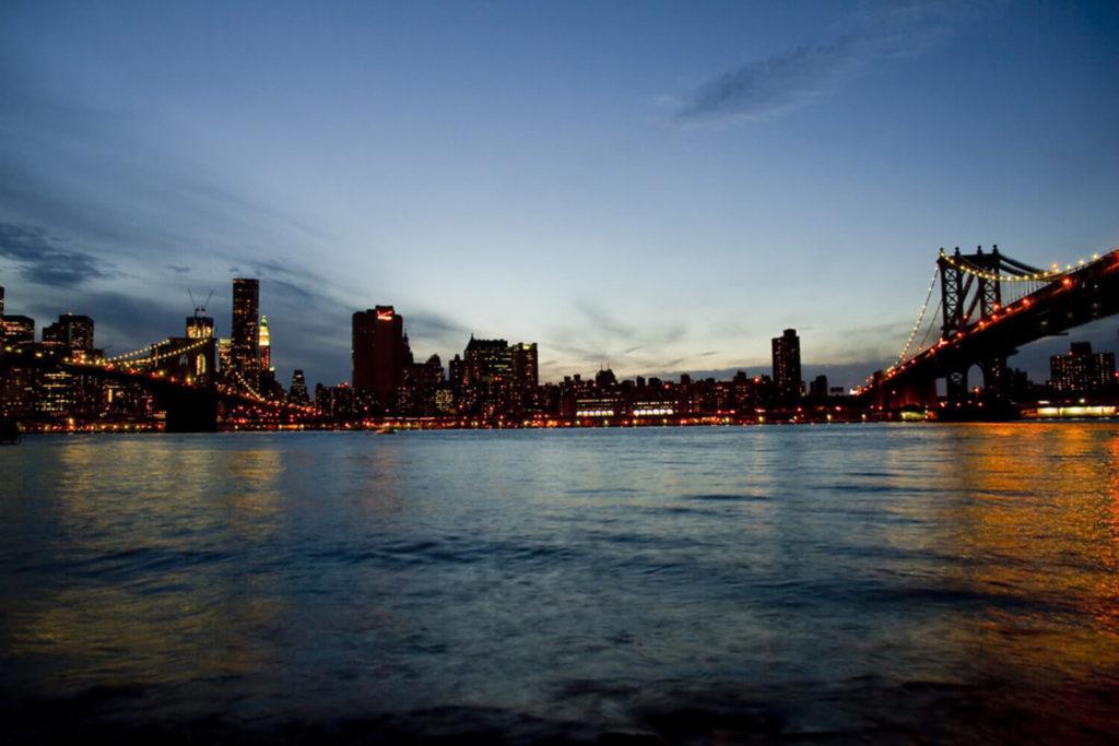 brooklyn manhattan sunset two bridges manhattan nyc