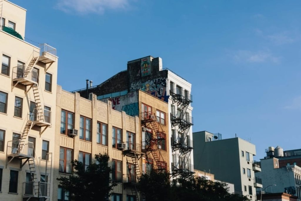 series of buildings the bowery manhattan nyc